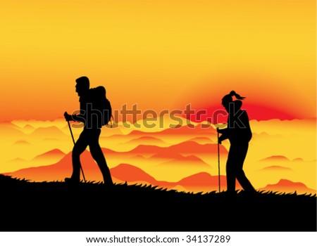 Sunset climbers - stock vector