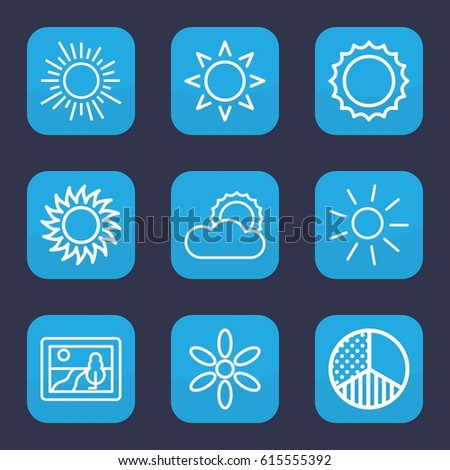 Sunset icon. set of 9 outline sunset icons such as sun, brightness