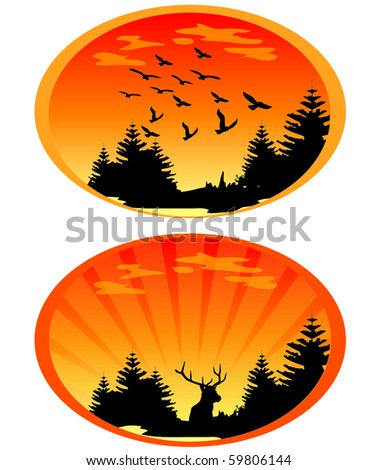 Sunset Illustrations - stock vector