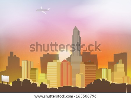 Sunset in a City Background - Vector Illustration - stock vector