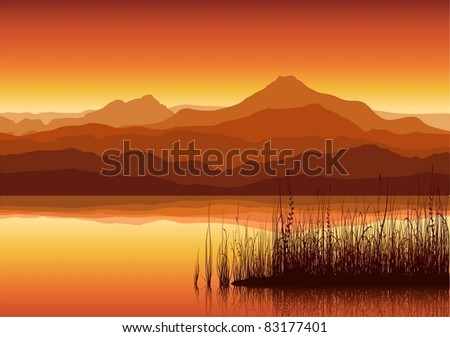 Sunset in huge mountains near lake with grass. Vector illustration. - stock vector