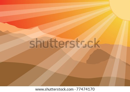 Sunset in mountain. Colorful vector illustration. - stock vector