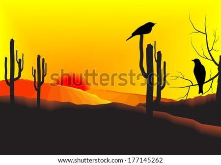 Sunset in the desert with cactus plants and birds at a branch of a tree. Vector illustration background. - stock vector