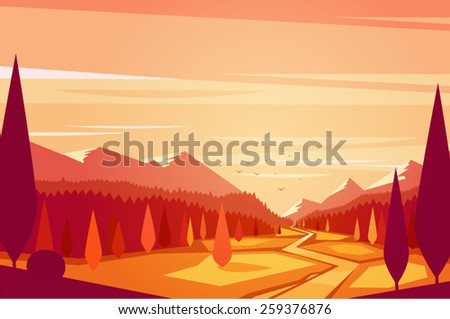 Sunset landscape. Vector illustration.
