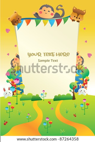 sunset nature cartoon party card you can put your text on the banner