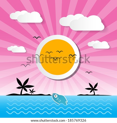 Sunset Ocean Background with Sun, Palm, Island, Clouds and Fish - stock vector