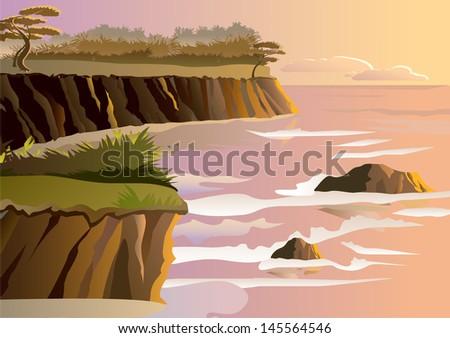 Sunset on a beach - Vector - stock vector