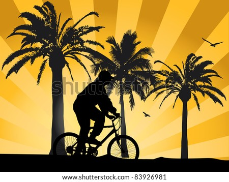 Sunset on beach with biker - stock vector