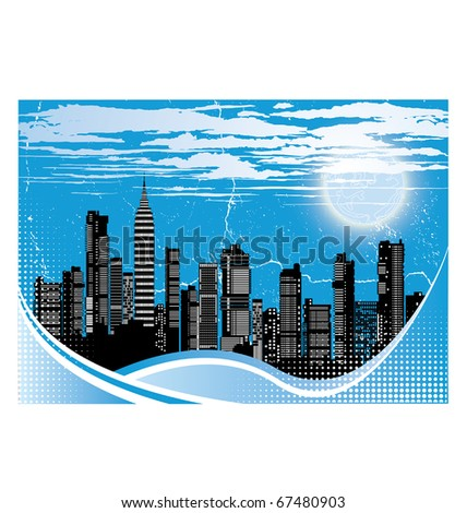 Sunset on the background of the city at night - stock vector