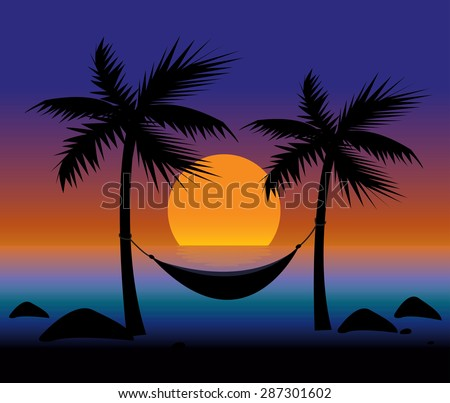 Sunset on the Beach on Hammock & Palm - stock vector