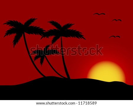 Sunset on the beach - vector