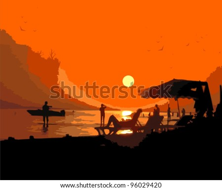 Sunset on the beach. Vector illustration - stock vector