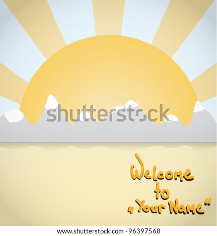 sunset or sunrise on the background of the desert and mountains - stock vector