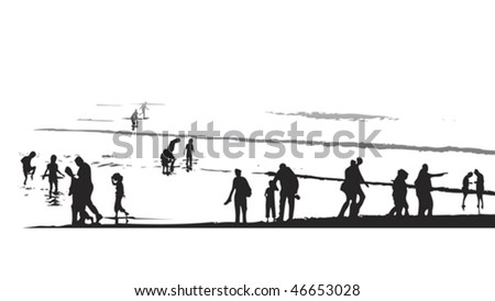 sunset paddling by the beach - stock vector