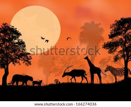 Sunset Safari - Wildlife silhouetted against a sunset, vector illustration - stock vector