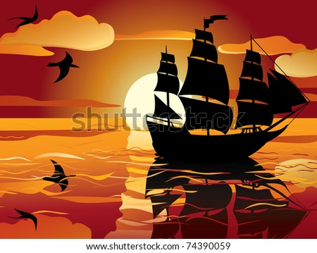 sunset. sailing vessel in tranquil evening sea - stock vector