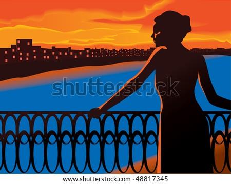 sunset scenic vector - stock vector