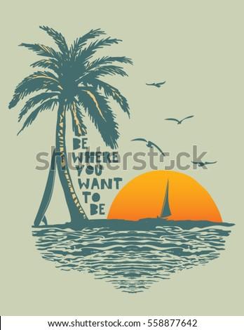 sunset surf beach vintage beach print stock vector royalty free