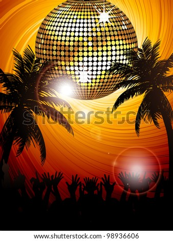 Sunset tropical party scene with sparkling disco ball, palm trees and crowd partying