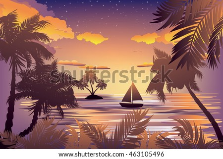 Sunset tropical sea landscape, boat and palm island silhouette.