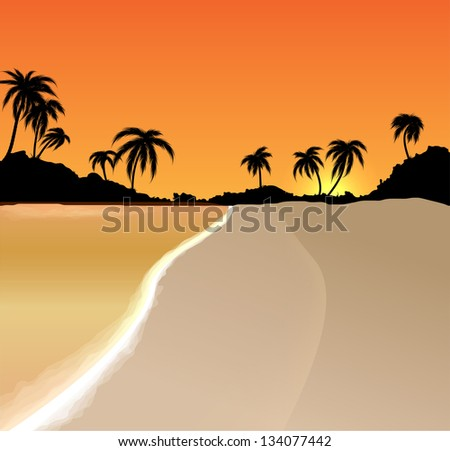 Sunset vector background with sea and palm trees - stock vector