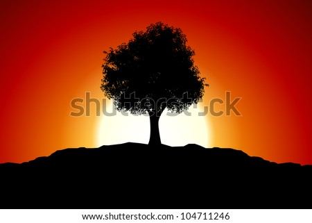 Sunset with black tree silhouette - stock vector