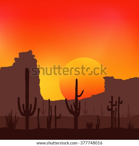 Sunset with Saguaro Cactus. Desert. Vector background.