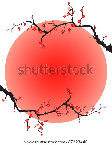 sunset with sakura blossom vector - stock vector