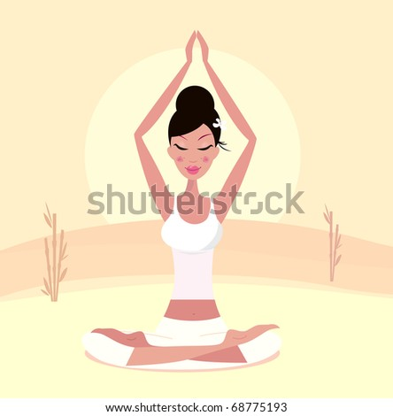 Sunset yoga : relaxing retro woman doing lotus flower yoga asana. Vector Illustration.