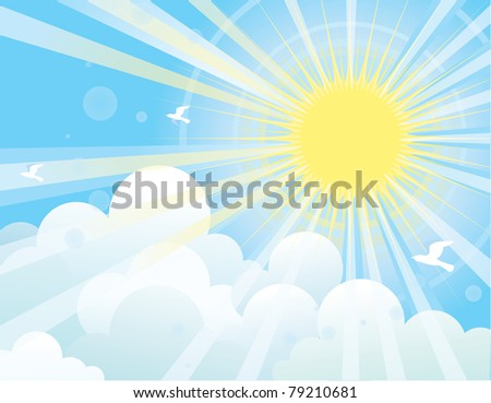 Sunshine and blue sky with beautifull clouds and flying birds.Vector image
