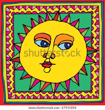 sunshine carpet drawing vector - stock vector