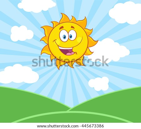 Sunshine Happy Sun Mascot Cartoon Character Over Landscape. Vector Illustration With Sunburst Background - stock vector