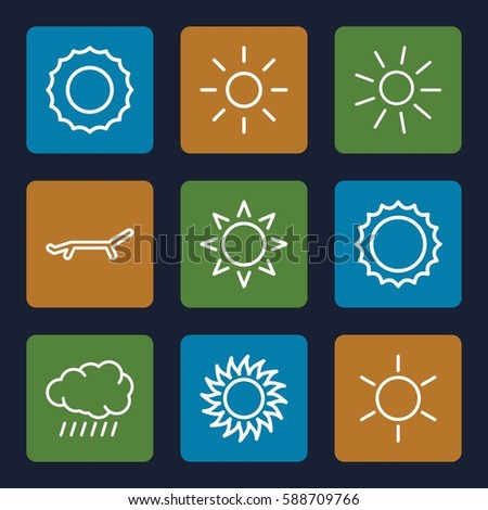sunshine icons set. Set of 9 sunshine outline icons such as