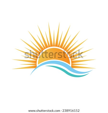 Sunshine logo over water waves. Vector design - stock vector