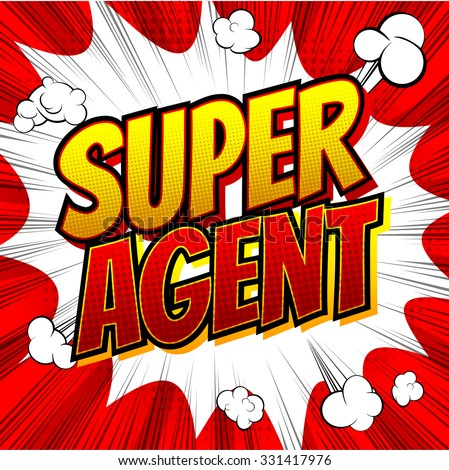 Super Agent - Comic book style word on comic book abstract background. - stock vector