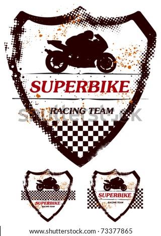 super bike grunge shield in three models - stock vector
