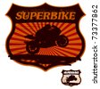 super bike grunge shield with rider - stock vector