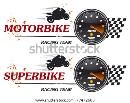 super bike tachometer banner - stock vector