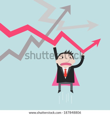 Super businessman help the Charts Up - Vector
