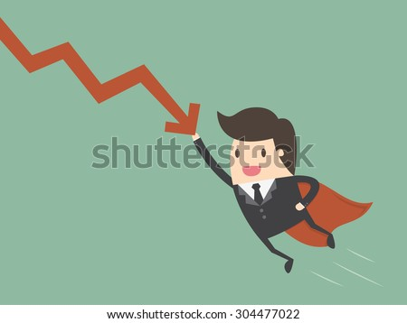 Super businessman stop the falling down chart. Business concept cartoon illustration - stock vector