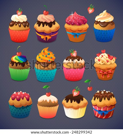 Super cupcake pack. Chocolate and vanilla icing cupcakes. Strawberry and cherry and cream - stock vector