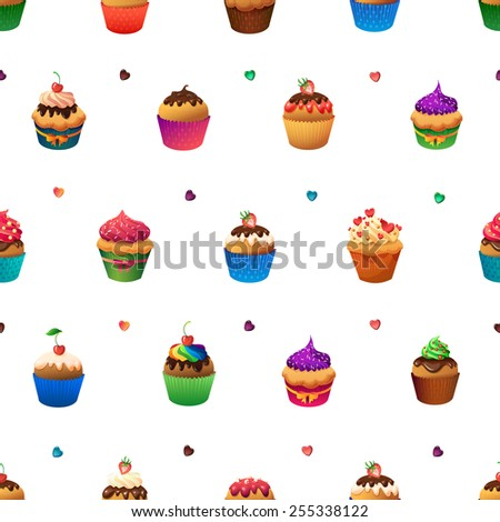 Super cupcake seamless pattern.  Chocolate and vanilla desserts - stock vector