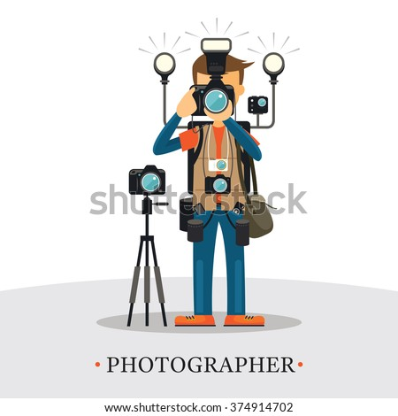 Super Equipment Photographer, Man Holding and Aiming Cameras, Carrying too many Accessories