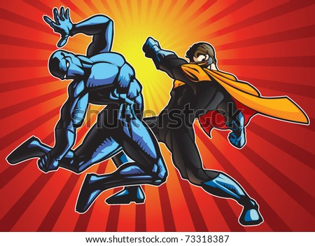 Super hero and a ninja doing battle. - stock vector