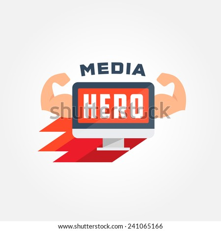 Super Hero Display Logo Template | vector icon of computer with muscles | creative idea for web studio | vector illustration of flat funny super hero pc with arms personification - stock vector