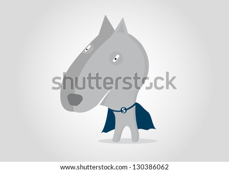 Super Hero Dog pitbull cartoon - stock vector