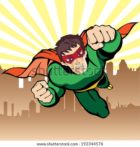 Super hero flying vector - stock vector