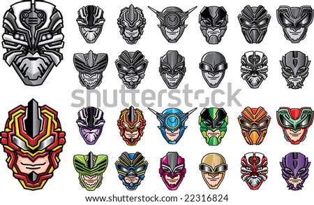 Super hero heads set 2 - stock vector