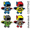 super hero in various color - stock vector