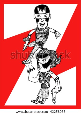 Super Hero Kids - Z Twins - Vector Illustrations - stock vector